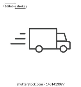 Delivery truck line vector icon. Editable stroke.
