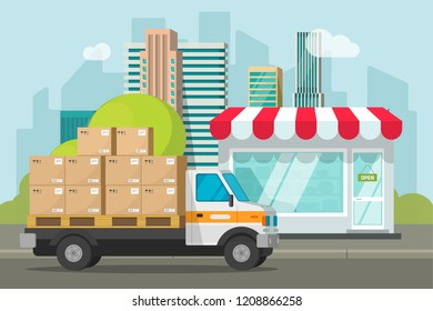 Delivery truck loaded with parcel boxes near store vector illustration, concept of shipping packages from shop building, retail courier van on city street and boutique storefront flat cartoon
