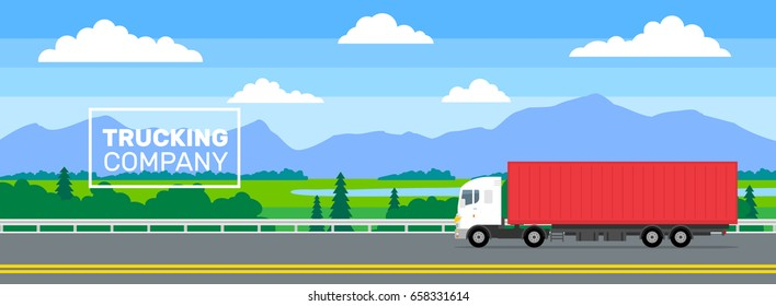 delivery truck moving on highway road .trucking company banner concept