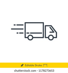 Delivery Truck (Pickup Box Car Delivery) Icon / Vector - In Line / Stroke Design