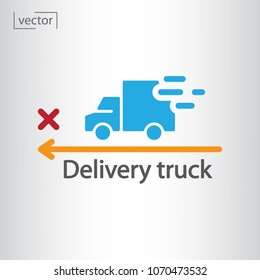 Delivery truck, route icon - vector illustration EPS, flat design icon