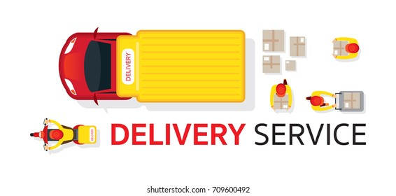 Delivery Truck Scooter Motorcycle Service, Top or Above View with Staff Carrying Parcel or Box