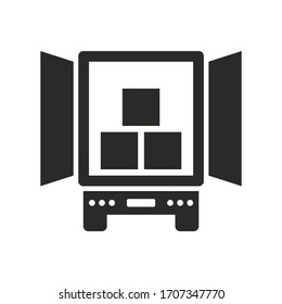 Delivery truck, semi trailer icon. Vector icon isolated on white background.