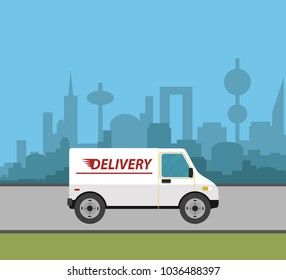 Delivery truck service around the world - Shutterstock ID 1036488397