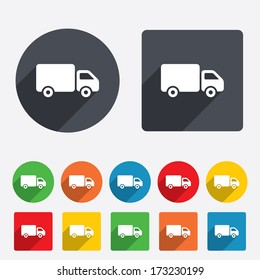 Delivery truck sign icon. Cargo van symbol. Circles and rounded squares 12 buttons. Vector