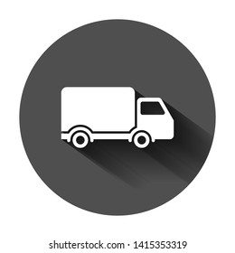 Delivery truck sign icon in flat style. Van vector illustration on black round background with long shadow. Cargo car business concept.