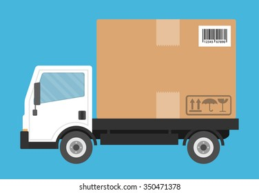 Delivery truck transporting a big cardboard package. Flat style