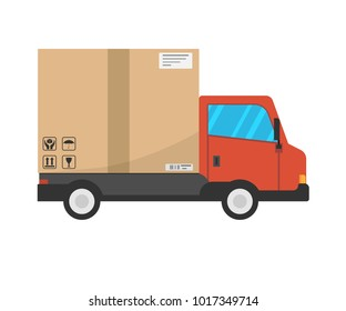 Delivery truck transporting icon. Vector illustration. Eps 10.