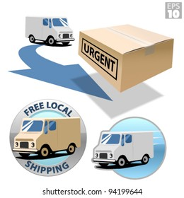 Delivery truck with urgent box, free local shipping, fast delivery