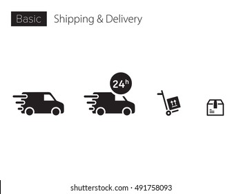 Delivery, truck, van, car icons symbols for info graphics, interfaces, websites and print media. Vector, flat icon