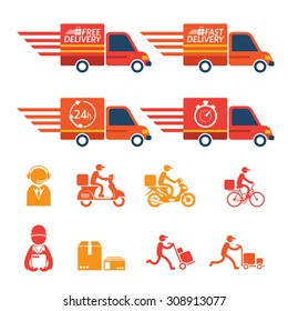 Delivery Truck or Van with Icons Set, Shipping, Transport, Order, Service, Fast and Free