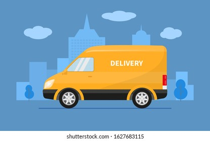 Delivery truck van rides on the background of the city. Vector illustration of yellow fast delivery truck, goods shipping transport. Concept service fast post car, mail minivan. - Shutterstock ID 1627683115