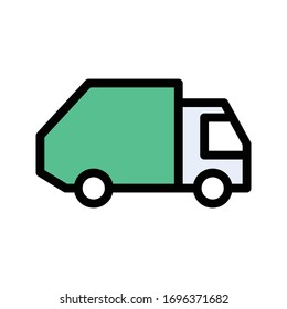 delivery truck vector flat color icon