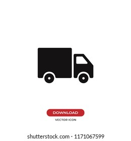 Delivery truck vector icon. Cargo van,logistic symbol. Flat vector sign isolated on white background. Simple vector illustration for graphic and web design.