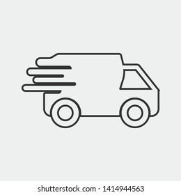 Delivery truck vector icon illustration sign