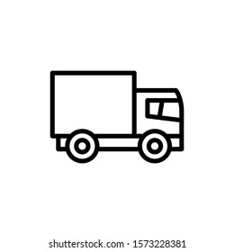 Delivery truck vector icon in outline style on white background, sign for mobile concept and web design, Truck, transportation simple icon Lorry symbol, logo illustration