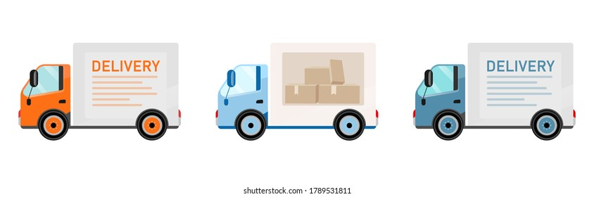 Delivery trucks flat color vector objects set. Goods shipping. Transport. Postal and food delivery service. Freight car isolated cartoon illustration for web graphic design and animation collection