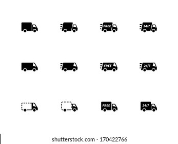Delivery Trucks icons on white background. Vector illustration.