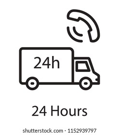 A delivery van with 24 h written on it having receiver above, denoting twenty four hours delivery services