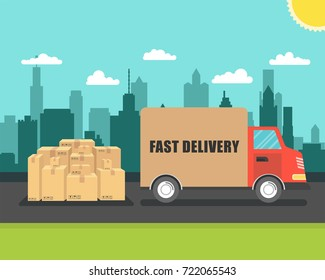 Delivery van with cardboard boxes on town background. Fast delivery concept. Vector illustration.