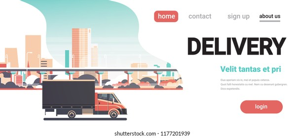 Delivery van city shipping transportation service truck concept over cityscape background horizontal banner copy space flat vector illustration