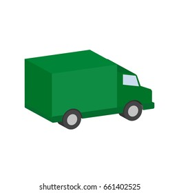 Delivery van, commercial vehicle symbol. Flat Isometric Icon or Logo. 3D Style Pictogram for Web Design, UI, Mobile App, Infographic. Vector Illustration on white background.