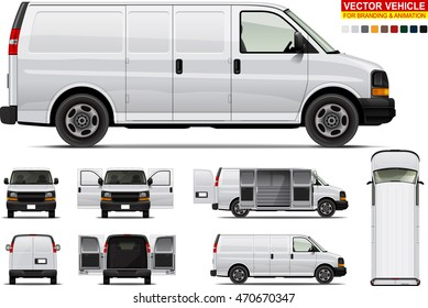 Delivery van. Doors can be opened, colors can be changed, the elements are in the separate layers.