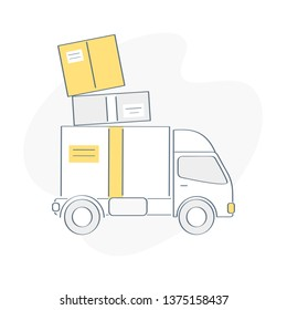 Delivery van, fast service truck, moving house. Pile cardboard boxes on the truck. Product goods shipping transport, relocate to new home or office. Flat outline vector illustration.