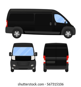 Delivery Van - Layout for presentation - vector template.isolated on white background, black silver van vehicle template.back front side view