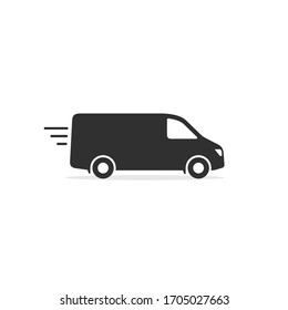 Delivery Van truck icon, minibus isolated on white background. Vector simple illustration.