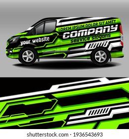 Delivery van vector design. Car sticker. Car design development for the company. Black with with green background for car vinyl sticker