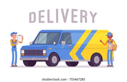 Delivery van and workers. Truck drivers ready to pick up, transport packages and other shipments, convenient parcel service. Vector flat style cartoon illustration isolated on white background