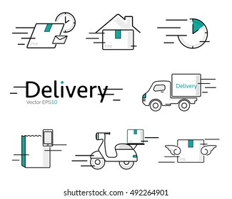 Delivery vector icon set