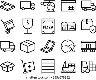 delivery vector icon set such as: button, machinery, loading, automobile, nautical, moving, gift, aircraft, trade, tanker, interior, present, doctor, emergency, frame, depot, customer, online, heavy