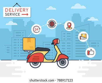 Delivery vector illustration. Delivery service with scooter motorcycle and cardboard boxes on city background. Delivery 24 hour concept. vector illustration