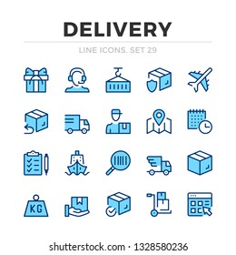 Delivery vector line icons set. Thin line design. Outline graphic elements, simple stroke symbols. Delivery icons