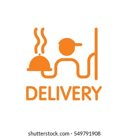 Delivery. Vector logo, sign. A man with a box of pizza.