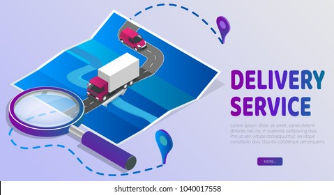 Delivery Website Banner. Delivery service app with map background. Isometric style vector illustration.