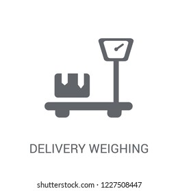 Delivery Weighing icon. Trendy Delivery Weighing logo concept on white background from Delivery and logistics collection. Suitable for use on web apps, mobile apps and print media.