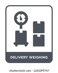 delivery weighing icon vector on white background, delivery weighing trendy filled icons from Delivery and logistic collection, delivery weighing simple element illustration
