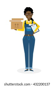 Delivery woman with parcel. Fast transportation. Isolated african american cartoon character on white background. Postwoman, courier with clipboard and package.