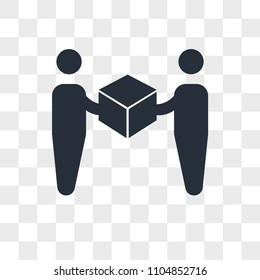 Delivery worker giving a box to a receiver vector icon isolated on transparent background, Delivery worker giving a box to a receiver logo concept