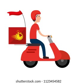 delivery worker in motorcycle avatar character