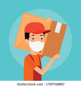 delivery worker using face mask with box carton vector illustration design