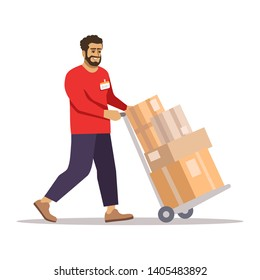 Deliveryman at work flat vector illustration. Warehouse worker pulling wheelbarrow isolated cartoon character on white background. Post office courier carrying cardboard boxes, parcels on trolley