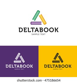 Delta Book Logo design template. Vector colorful books in triangle logotype for library, bookshop, bookstore, publishing house
