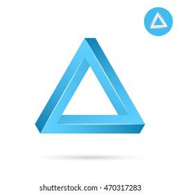 Delta letter icon, triangle shape, 3d vector illustration on white background, eps 10