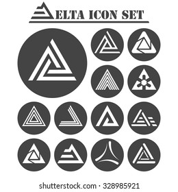 Delta letter icons set, 13 signs on dark round plates, 2d vector, eps 8