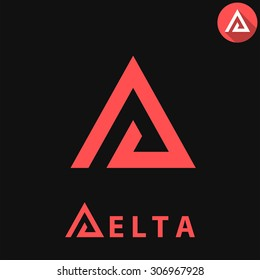 Delta letter logo template on dark background, d triangle sign, 2d vector, eps 8