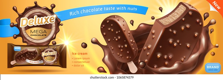 Deluxe chocolate ice cream bar ads. Premium ice bar in chocolate splash with glaze and crunchy nuts isolated on warm background. Packing and label design. Vector realistic 3d illustration.